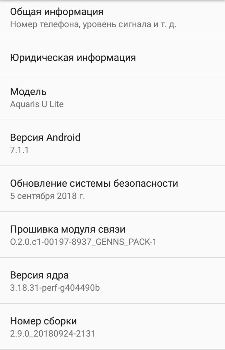 Скриншот с версиями ПО для обновления BQ Aquaris U Lite 2.9.0